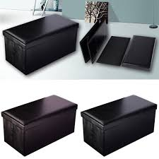 Leather Ottoman Storage Folding Faux Leather Ottoman Pouffe Storage Seat Ottomans