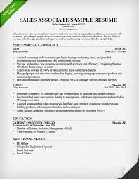 Skills And Abilities Resume Example by Retail Sales Associate Resume Sample U0026 Writing Guide Rg