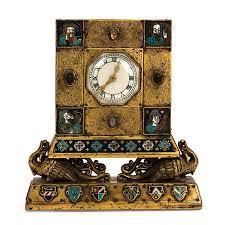 Gilt Bonze Enameled Portrait Gilt Bronze And Chleve Enameled Clock The Square With