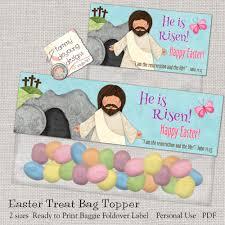 christian easter baskets christian easter treat bag toppers printable he is risen jesus