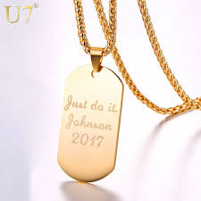 Personalized Dog Tag Necklaces U7 Personalized Dog Tag Necklace Wedding Date Name Id Men Jewelry