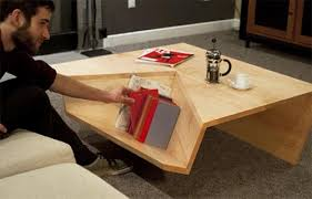 modern and minimalist coffee table with book storage interior