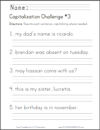 capitalization challenge 3 grammar worksheet for grade 1