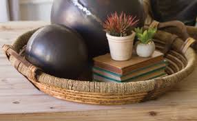 Tray Coffee Table Tray Decorative Tray Wood Wooden Wicker Round Tray Fruit
