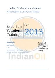 indian oil vocational training report 2013