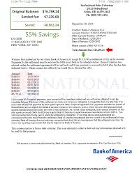 bank of america floor plan debt settlement letters