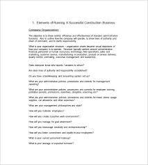 free construction business plan template construction business