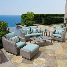 Patio Set Rst Brands Cannes 6 Piece Patio Seating Set With Bliss Blue