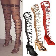 womens boots uk ebay womens thigh high lace up stiletto heels sandals