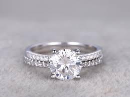 ring set 2 carat moissanite engagement ring set diamond wedding band white