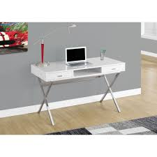 metal computer desks workstations modernly styled with supportive criss cross silver metal leg this