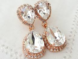 Chandelier Earrings Bridal Rose Gold And White Clear Crystal Chandelier Earrings Bridal Gold