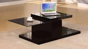 Black Gloss Glass Coffee Table Rotating Black High Gloss Glass Coffee Table Homegenies
