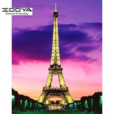 new 3d diy diamond painting cross stitch eiffel tower crystal