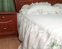 Skirted Coverlet Linen Coverlet Bed Coverlet Linen Bed Cover Linen Bed
