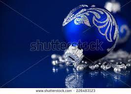 blue silver christmas ornaments on dark stock photo 221782984