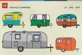 Retro Camper Vintage Campers Illustrations Creative Market