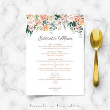 Wedding Menu Template Wedding Menu Cards Printable Templates Hands In The Attic
