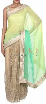 beige green buy this half and half saree in beige and red in kantha embroidery