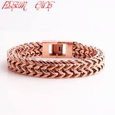 rose gold stainless steel bracelet images Double layer link chain men bracelets rose gold color stainless jpg