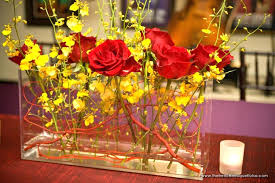 Vases For Flowers Wedding Centerpieces Yellow And Red Wedding Decorations Rectangular Clear Vase With Red