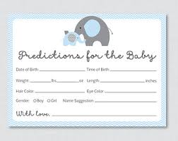 baby shower guessing elephant baby shower prediction cards instant