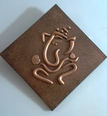 Diamond Home Decor by World O Ceramica Copper Ganesha Diamond Shaped Wall Hanging Home