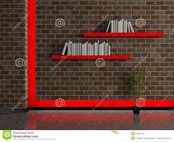 shelves for brick walls modern house interior dark brick wall with book shelves stock