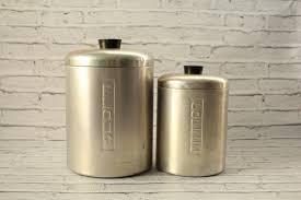 vintage aluminum canister set flour u0026 coffee metal lidded silver
