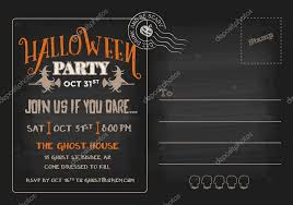 halloween party postcard invitation template u2014 stock vector