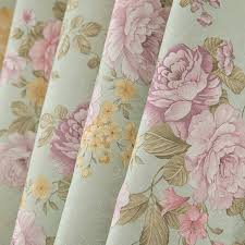 green floral polyester blackout shabby chic curtains
