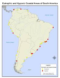 Blank South American Map by Coastal Eutrophic And Hypoxic Areas Of South America World