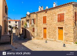 street with typical french houses in piana village corsica island