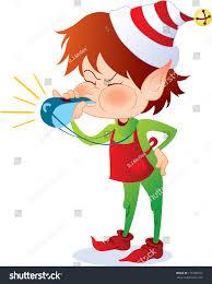 santas elf blowing whistle she supervises stock illustration