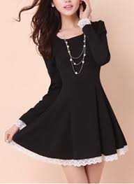 airydress cotton blends color block long sleeve mini casual