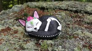 Rocking Bird Garden Ornament by Day Of The Dead Cat Statue Sleeping Cat Garden Statue Cat