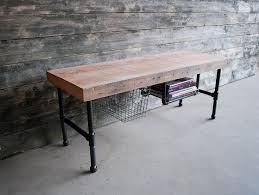 Pipe Desk Extra Thick Pipe Reclaimed Wood Desk Industrial Desk by Pipe Media Console Console Desk W Steel Pipe Legs And Built In