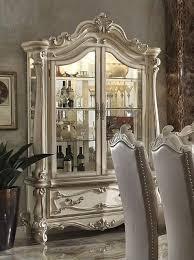 White Curio Cabinet Traditional Curio Cabinet In Ornamental Bone White