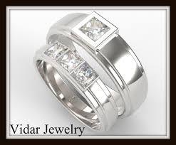 wedding band sets princess cut diamond wedding band set vidar jewelry unique