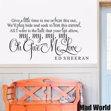 mad world give a little time give me love lyric wall art stickers mad world give a little time give me love lyric wall art stickers wall decal home diy decoration removable decor wall stickers in wall stickers from home
