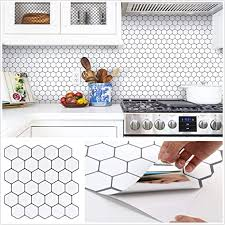 white kitchen cabinets with hexagon backsplash homeymosaic peel and stick backsplash tile for kitchen 3d self adhesive stickers 12 x12 hexagon design 5 sheets thicker pearl white