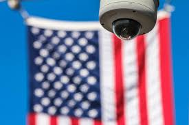 Dirty American Flag Brickwall Camera Cctv Dirty Leaves Outdoors Plants Security