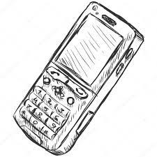 vector sketch illustration mobile phone u2014 stock vector