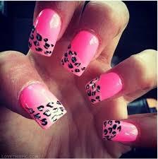 pink half leopard nails girly cute nails nail polish nail