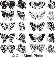black butterfly tattoos and silhouettes isolated on white eps