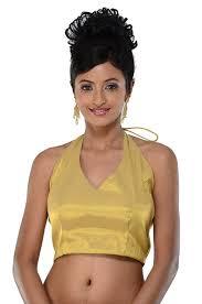 saree blouse amazon com gold ready made halter neck sari saree blouse choli