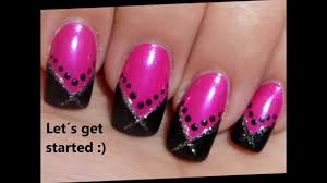 nail art tutorial black pink v shape french manicure youtube