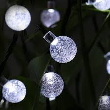 30 led cool white solar powered 8 mode globe string curtain