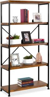 what of wood is best for shelves best choice products 5 tier rustic industrial bookshelf display décor accent for living room bedroom office w metal frame wood shelves brown