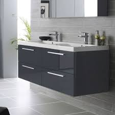 grey bathroom wall cabinet glossy charcoal grey wall cabinet using metal finished handles with